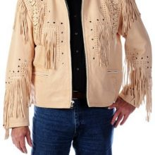 New Handmade Men Cowboy Leather Jacket,Western Cowboy Cream Color Fringe Jackets