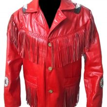 New Handmade Men Red Western Fringes Cowboy Genuine Real Leather Jacket