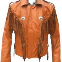 New Handmade Men Orange Western Fringes Cowboy Genuine Real Leather Jacket