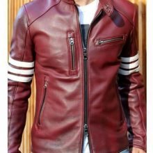New Handmade Men's Fashion Casual Wear Biker Riding Maroon Genuine Real Leather Jacket