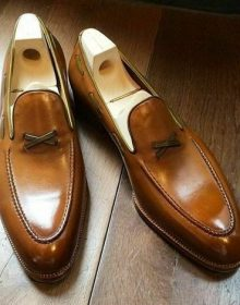 Men's Two Tone Tan Brown Loafer Slips On Formal Dress Handmade Leather Shoes
