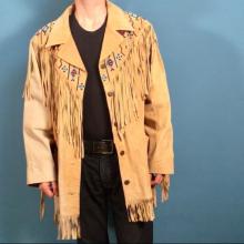 New Handmade Men Tan Suede Leather Western Fringe Jacket