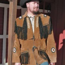 Brown Color Western Style Black Fringes Bone Beaded Genuine Suede Leather Jacket