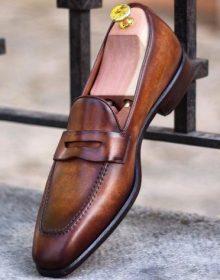 Handmade Men brown leather loafers, Men slipons, Men's loafers shoes, Men style
