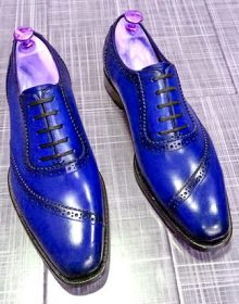 Men's Blue Oxford Whole Cut Lace Up Luxury Genuine Leather Formal Dress Shoes