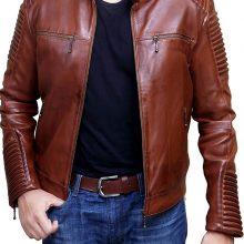 New Handmade Men's Cafe Racer Fashion Stylish Brown Biker Real Leather Jacket