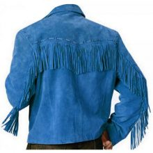 New Handmade Men's Western Native American Blue Fringes Cow Suede Leather Jacket