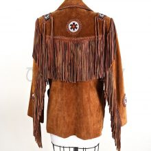 New Mens Traditional Brown American Western Suede Leather Fringes Beads Jacket