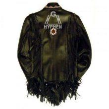New Handmade Men's Western Style Handmade Black Cowboy Leather Fringes Bone Beads Jacket