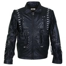 New Handmade Men Black Fringes White Beads Leather with Round Studs Jacket