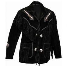 New Handmade Men's Native American Black Cow Suede Leather Fringes Beads Jacket