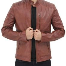 New Handmade Mens Brown Shoulder Padded Leather Motorcycle Jacket