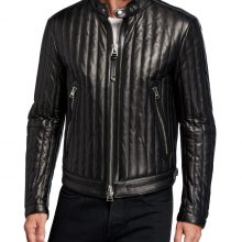 New Handmade Men's Vertical Channel Black Leather Racer Jacket