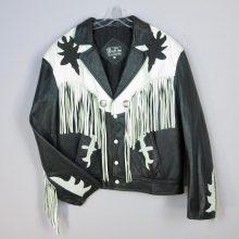 New Handmade Black White Men's Biker Motorcycle Cowboy Western Leather Fringe Jacket