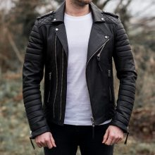 New Handmade Men's High Desiner Fashion Casual Formal Biker Style Black Leather Jacket