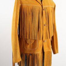New Handmade Men's Orange Brown Suede Leather Hippie Festival Fringe Leather Jacket