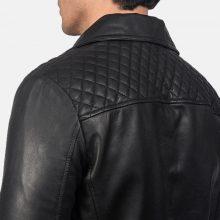 New Handmade Mens Danny Quilted Black Leather Biker Jacket