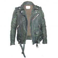 New Handmade Men's Retro Moto Biker Slim Fit Vintage Real Cowhide Distressed Green Leather Jacket