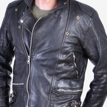 New Handmade Mens Vintage Black Leather Perfecto Biker Jacket