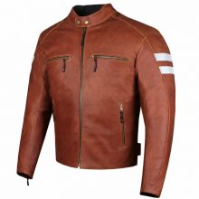 New Handmade Men's Bikers Motorcycle Cruiser Brown Armor Biker Safety Leather Jacket