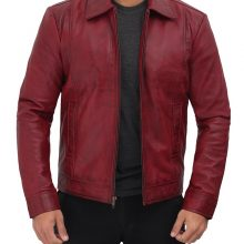 New Handmade Mens Distressed Maroon Biker Leather Jacket
