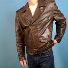 New Handmade Men's Brown Leather Motorcycle Jacket