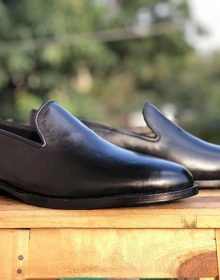 Handmade Men's Black Colour Leather Slip On Dress Formal Loafers