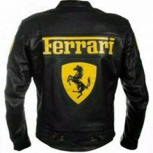 New Handmade Men's Ferrari Racing Motorbike Cowhide Leather Jacket