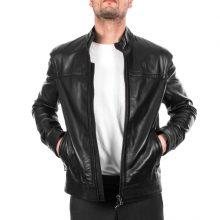 New Handmade Italian Men's Genuine Lambskin Casual Fit Black Leather Jacket