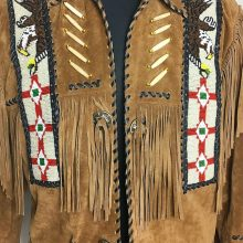New Handmade Mens Vintage Beaded Eagle Suede Fringe Southwestern Jacket