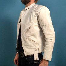 New Handmade Men's White Leather Motorcycle Jacket