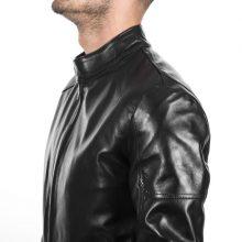 New Handmade Italian black Lamb lambskin biker slim fit jacket