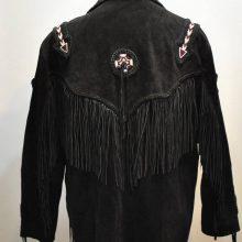 New Handmade Men's Fringes Beads Vintage RUNNING BEAR SUEDE Fringe Western Jacket