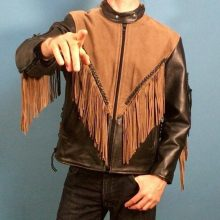 New Handmade Men's Black and Brown Leather Motorcycle Fringe Jacket