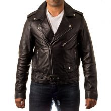 New Handmade Men's Classic Brando Biker Style Real Leather Fitted Jacket with Waist Belt