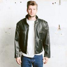 New Handmade Men's Biker Vintage Bomber Black Punk Rock Motorcycle Jacket