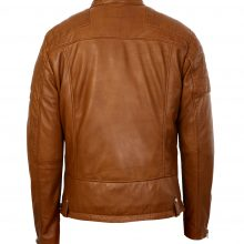 New Handmade Mens Cognac Asymmetrical Biker Lambskin Real Leather Jacket