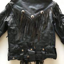 New Handmade Men's Black Genuine Leather Motorcycle Fringe Jacket