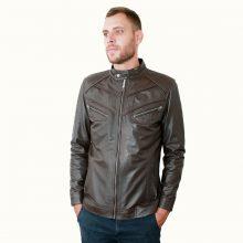 New Handmade Dark Brown Metal Zip Pockets Leather Jacket for Men