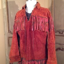 New Handmade Men's Festival Drifter Fringe Suede Leather Pullover Jacket