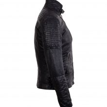 New Handmade Mens Asymmetrical Biker Vintage Black Lambskin Real Leather Jacket