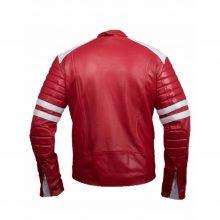 New Handmade Men Cafe Racer Red & White Biker Genuine Leather Jackets
