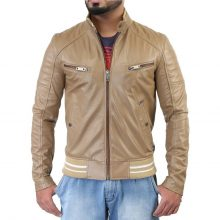 New Handmade Men's Biker Style Motorbike Beige Genuine Leather Jacket
