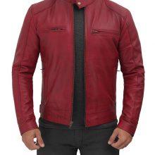 New Handmade Mens Maroon Leather Cafe Racer Jacket