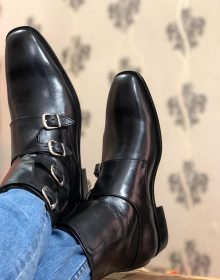 Handmade Mens Quad Monk Black Leather Ankle High Boots