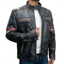 New Handmade Men's Biker Style Motorbike Distressed Black Genuine Leather Jacket