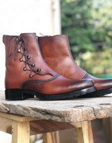 Handmade Men's Brown Color Leather Ankle High Military Boots