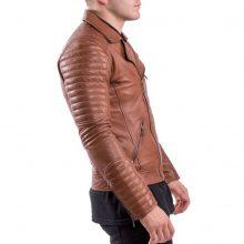 New Handmade Men's Brown Biker Style Motorbike Lamb-skin Leather Jacket