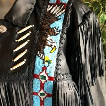 New Handmade Mens Black Pow Wow Leather Fringed & Beaded Jacket