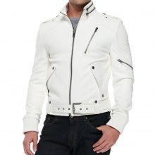 New Handmade Men's White Biker Style Motorbike Lamb-skin Leather Jacket